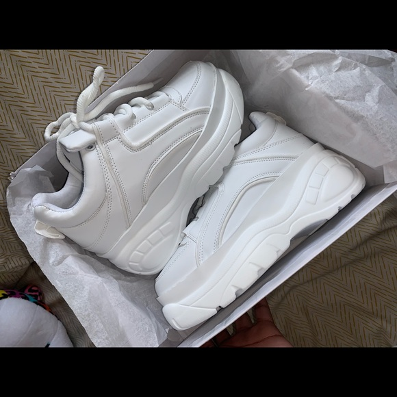 White Pu Flatform Chunky Hiker Sneaker